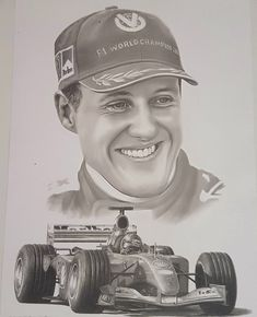 Pencil drawing of the great Michael Schumacher, this was the fifth stab at an driver and his car. Ferrari F1, Michael Schumacher, Red Bull Racing, F1 Drivers, Pencil Art Drawings, Car And Driver, Formula One, Grand Prix, Race Cars