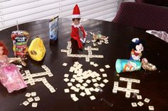 elf game night...love the open juice boxes...nice touch!