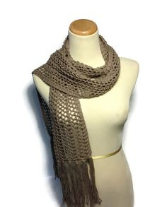 Taupe Scarf Knit Scarf Lacy Scarf Hand Knit by ArlenesBoutique, $55.00