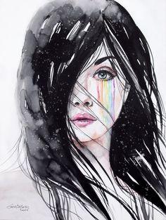 Rainbow tears Art Print by erica dal maso - X-Small Portrait Illustration, Digital Illustration, Cover Art, How To Draw Tears, Manga Anime, Tears Art, Estilo Anime, Cool Sketches, Pencil Art Drawings