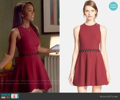Michaela's red dress with lace-up waist on How to Get Away with Murder.  Outfit Details: http://wornontv.net/53418/ #HTGAWM