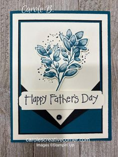 Make a Stampin Up Father's Day card using the Stampin Up Forever Fern stamp set and Forever Flourishing dies. This masculine Stampin Up card idea uses disINKtive images, making them look 3D! #stampinup #stampinupcardideas #fathersdaycards Fathers Day Cards, Happy Fathers Day, Fancy Fold Cards, Stamping Up Cards, Masculine Cards, Cool Cards, Flower Cards, Creative Cards, Ferns