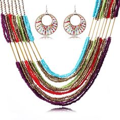 Boho Style Jewelry Set Colorful Beaded Necklace Earring