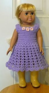 Let's create:  Springfield Dolls & other 18 inch dolls will love this Crochet dress