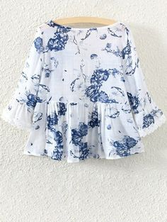 Lace Insert Floral Skirted Blouse - WHITE ONE SIZE(FIT SIZE XS TO M) Mobile