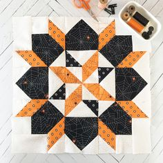 Fort Worth Fabric Studio: Boo to You Mystery Quilt {Week Sampler Quilts, Star Quilts, Mini Quilts, Quilt Blocks, Bed Quilts, Halloween Quilt Patterns, Barn Quilt Patterns, Halloween Quilts, Halloween Runner