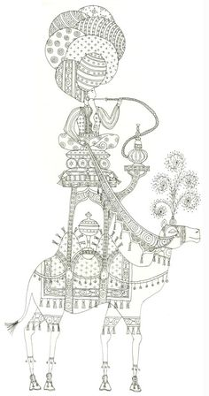 Beth Wizard Illustration Wise Man and Camel Pen and Ink Drawing