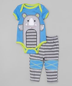 Look at this #zulilyfind! Blue & Gray Rhino Bodysuit & 'Cool' Pants - Infant by Buster Brown #zulilyfinds