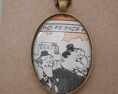 SALE - Laurel and Hardy necklace, vintage book page pendant, vintage necklace, laurel and hardy gift, vintage gift