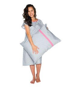 bd0024f5e7 2 PC Set-Lisa Gray Dotted Maternity Labor Delivery Hospital Gown Gownie    Pillowcase