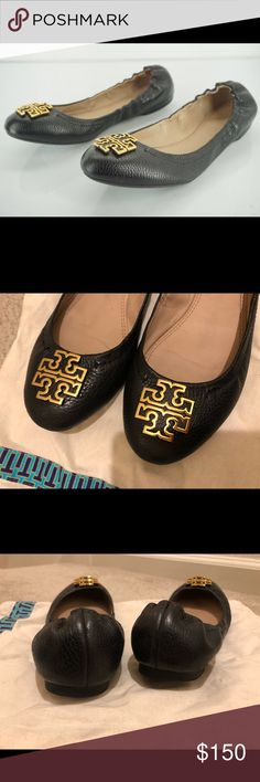 e1fcd8a1bff Tory Burch Melinda Black leather ballet flat sz 8 Beautiful pair of Tory  Burch Melinda leather