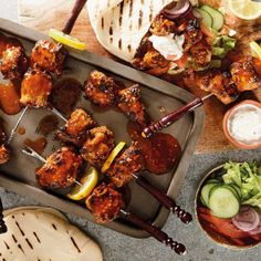 grilled pork kebabs in pitas Cheese Dishes, Food Dishes, Roast Menu, Peppermint Crisp, Sticky Pork, Homemade Beef Stew, Cook Up A Storm, Sunday Roast, Grilled Pork