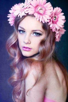 Boho bride's long soft curly bridal hair ideas Toni Kami ⊱✿Flowers in her hair✿⊰  Pink Gerbera daisy flower crown