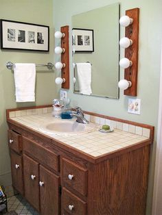 With a tight budget, these homeowners got creative to create a bright piece that was the jumping off point for the rest of the bathroom! http://www.bhg.com/bathroom/vanities/bathroom-vanity-makeover-ideas/?socsrc=bhgpin112314datedanddark&page=1