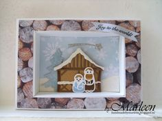 Card by DT member Marleen with Collectables Nativity Set (COL1395), Banner & Text Christmas (COL1325), Christmas Village Chalet (COL1328) and Christmas Village Decoration Set (COL1330) by Marianne Design