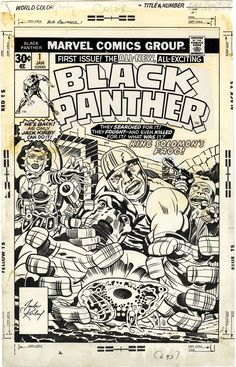 Gallery of Comic Art by Jack Kirby : Black Panther, Issue Cover Comic Book Pages, Comic Book Artists, Comic Book Covers, Comic Book Characters, Comic Books Art, Comic Artist, Marvel Art, Marvel Comics, Jack King