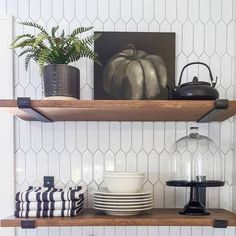 kitchen styling from our house flip. Kitchen Styling, Kitchen Decor, Open Shelving, Shelves, Fixer Upper House, Homes, Fall, Home Decor, Autumn