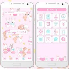 """""""Little Lovers"""" 7/17 These fluffy baby rabbits are sure to melt your heart! The soft colors just enhance the cuteness. http://app.android.atm-plushome.com/app.php/app/themeDetail?material_id=1296&rf=pinterest #cute #wallpaper #love #kawaii #design #icon #girl #code #plushome #pink"""