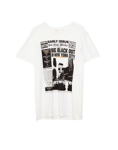 You can find 1 Newspaper print T-shirt for only € in Pull&Bear. Enter now and discover this and many other unique Pull&Bear pieces Newspaper Printing, Pull N Bear, Shirt Outfit, T Shirt, Bear Men, Big Black, Street Chic, United Kingdom, Clothing