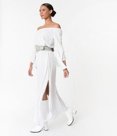 Retro Style White Off The Shoulder Long Angel Sleeved Maxi Dress – Unique Vintage