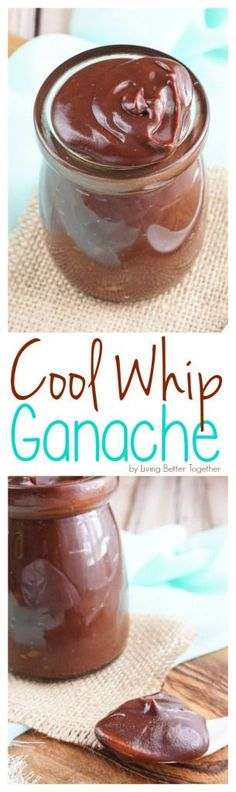 This Cool Whip & Chocolate Ganache is just as creamy, thick, and rich as a traditional ganache recipe, but it's only of the calories! Whipped Ganache, Ganache Recipe, Icing Recipe, Frosting Recipes, Whipped Cream, Whipped Frosting, Just Desserts, Delicious Desserts, Dessert Recipes