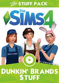 this is a dunkin brands stuff pack its not a real stuff pack its a fanmade one heres the download https://onedrive.live.com/?authkey=%21ACKEzeHve27NLSM&id=7F42830DA8529CB9%2129190&cid=7F42830DA8529CB9  i do not own this stuff pack and i did not make it, it was made by very talented people to check out more information check the website i found it on https://ohmysims404.tumblr.com/post/126840465994/i-love-building-restaurant-type-community also ALL CREDIT GOES TO THE CREATORS