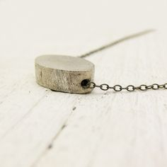Brushed Sterling Silver Oval on Oxidized Sterling Silver Chain : simple everyday necklace
