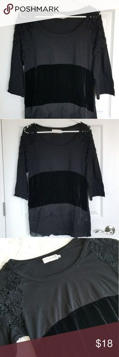 New Boho Black Open Neck Top Blouse Sz L Gorgeous multi fabric and openwork black top by Love & Liberty. Top panel in cotton. Middle in velvet. Hem layer in patterned silk. Shoulder in openwork lace with black beads. 3/4 sleeve. Size Large. Wrinkled from storage but never worn. In like new condition.  Bundle for discount and great gifts! Love & Liberty Tops