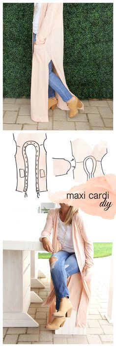 Maxi Cardigan DIY Because sometimes you just want to wear something that makes you feel pretty. This Season I am totally crushing on layers and maxi dresses, as you can. Sewing Patterns Free, Free Sewing, Clothing Patterns, Sewing Tips, Knitting Patterns, Crochet Patterns, Maxi Cardigan, Long Cardigan, Diy Clothing