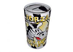 TIF8 SALVADANAIO LATTA BIANCO/NERI  TIF8 salvadanaio in latta a forma cilindrica con stampa del zebrotto nei colori bianco/nero.