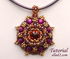 Desert Flower Pendant is a great pattern for playing with different colors of seed beads.Beading instruction is very detailed with photos of each step.