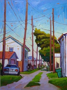 """""""Private Parking"""" by Rene' Wiley Gallery Oil ~ 24 x 18"""