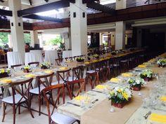 Catalinas Restaurant at Reserva Conchal Beach Club Sillas X y Wood tables