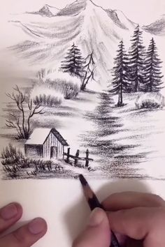 Landscape Pencil Drawings, Cool Pencil Drawings, Art Drawings Sketches Simple, Pencil Sketches Of Nature, 3d Art Drawing, Nature Drawing, Beautiful Pencil Drawings, Diy Canvas Art, Waterfall Drawing