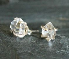 Herkimer diamond earrings. Modern. Edgy. Unique.