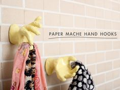 DIY Paper Mache Hand Hooks Tutorial from Making Nice in the Midwest here. You can find these in the jewelry display aisle at craft stores or here (no affiliate links). *First seen at Pulgly Pixel here. *These hands remind me of a more sturdy version of hands in the form of a coat rack inspired by an episode of DEXTER: Natasha's DIY Baby Doll Coat Rack made with doll hands and legs here.