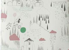 wonderlijk behang papier 'in the rain' Ferm Living | kinderen-shop Kleine Zebra