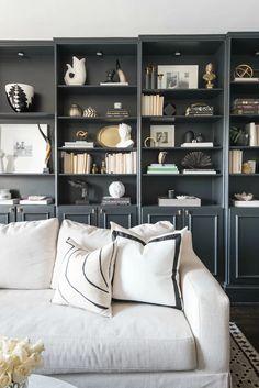 Living Room White Grey Bookshelves 55 Ideas For 2019 New Living Room, Living Room Sofa, Living Room Shelves, Apartment Living, Grey Bookshelves, Black Bookcase, Bookcases, Black And White Living Room Decor, White Sofas