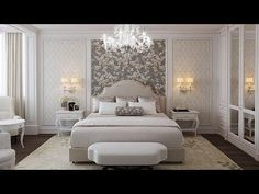 Light bright beige bed, cream bed, classy bedroom, elegant