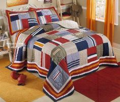 Ronnie Varsity Quilt . $89.99. A traditional hand-pieced cotton quilt with an untraditional design, specially crafted to complement a boy's room. All his favorite colors are here, plus sporty stripes, so it will go with everything else he loves. Striped design is perfect for adding flair to your room. Quilt features large collegiate-style pockets and striped squares in navy & dusty blue, tangerine orange, olive green, brick red, khaki tan, and crisp white. Reve...