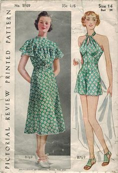 1930s Pictorial Review 8769 Vintage Sewing Pattern Misses Frock and Bathing Suit…