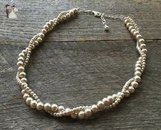 """Simple Champagne Two Strand Twisted Pearl Necklace 21"""" - Wedding nacklaces (*Amazon Partner-Link)"""