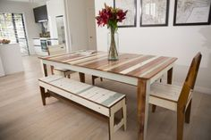 Weatherboard Dining/Meeting Table from Rekindle, who are salvaging native timber from Christchurch demolitions and crafting it into beautiful furniture.  Wants!!!