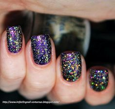 Fabulous Purple Bling Bling Nails for Girls