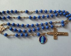 Antique Blue Glass Rosary Beads with attached Blue Enamel Religious Medal - Vintage Antique Religious Jewelry