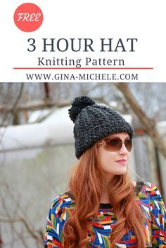FREE knitting pattern for this easy 3 Hour Hat!