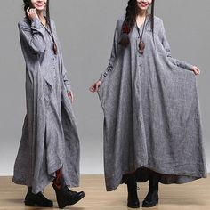 gray color Loose Fitting Linen long Sleeve T Shirt Blouse for Women top - Spring Dress spring clothes loose cape long dress maxi dress Modest Fashion, Hijab Fashion, Fashion Outfits, Womens Fashion, Dress Fashion, Vetements Clothing, Hijab Stile, Look Fashion, Fashion Design