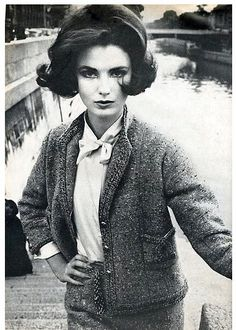 Vintage Fashion Photographed by William Klein, Vogue 1960 - Wearing a suit by Chanel. Vintage Vogue, Mode Vintage, Vintage Chanel, Jean Patou, William Klein, Mode Chanel, Swinging London, 20th Century Fashion, Vintage Fashion Photography