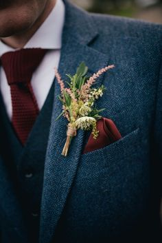Wild Flower Buttonhole and Marsala Woven Tie & Pocket Square  | Autumn Wedding | Justin Alexander bridal gown | Lyde Court | Coral Rose Bouquet | Naked Wedding Cake | Images by Lucy Greenhill Photography | http://www.rockmywedding.co.uk/gemma-alfie/