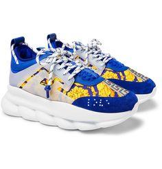 Compre 2019 Versace Reação Em Cadeia Moda Homens Mulheres Sapatos De Grife Preto Branco Azul Esportes De Corrida Tênis De Couro Sapatilhas Planas Ao